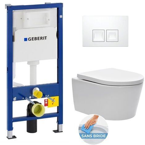 Geberit pack bâti-support UP100 + plaque Delta50 blanche + cuvette suspendue sans bride et fixations invisibles (SATrimlessGeb1)
