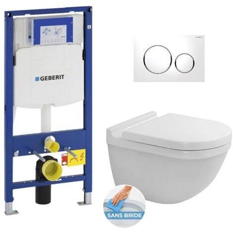 Geberit Pack Bâti-support + WC Duravit Starck 3 rimless fixations invisibles + Abattant softclose + Plaque blanc chromé (GebStarck3)