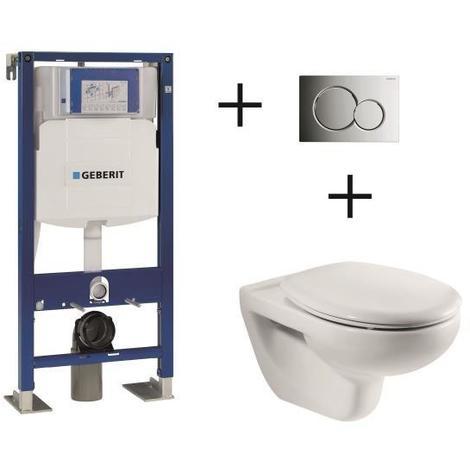 GEBERIT Pack complet WC suspendu Bati-support 112 cm + plaque chromee + cuvette Mitos ROCA + Abattant avec frein de chute