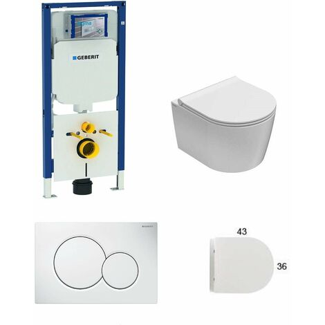 Geberit Pack SIGMA8 cloison sèche + WC suspendu 43 cm Globo Forty + Sigma 1 | blanc