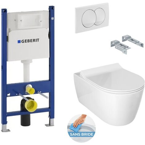 Geberit Pack WC Bâti Duofix + Cuvette Idevit Alfa sans bride fixations invisibles + Abattantsoft close + Plaque blanche (AlfaGeb3)