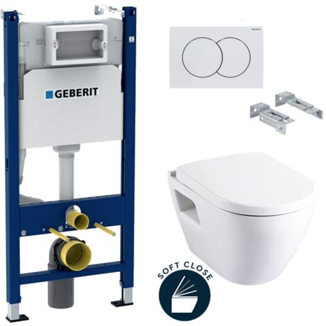Geberit Pack WC Bâti Duofix + Cuvette SM10 avec bride + Abattant soft close + Plaque blanche (SM10Geb3)