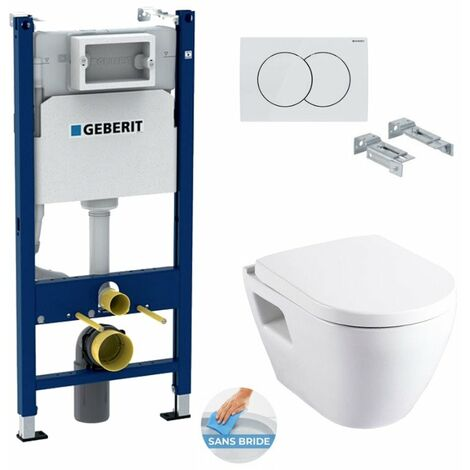 Geberit Pack WC Bâti Duofix + Cuvette SM26 sans bride + Abattant soft close + Plaque blanche (SM26Geb3)