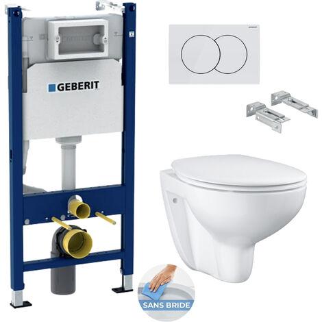 Geberit Pack WC Bâti Duofix + Cuvette suspendue Grohe Bau Ceramic + Abattant déclipsable + Plaque blanche (BauClassicGeb3)