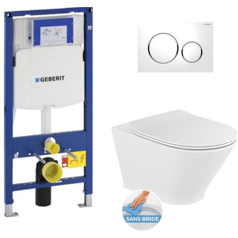 Geberit Pack WC Bâti-support avec Cuvette Roca The Gap fixations invisibles + Abattant + Plaque blanc chromé (GebGapRimless-C)