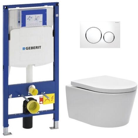 Geberit Pack WC Bâti-support avec Cuvette SAT rimless fixations invisibles + Abattant softclose + Plaque blanc chromé (GebSatrimless-C)