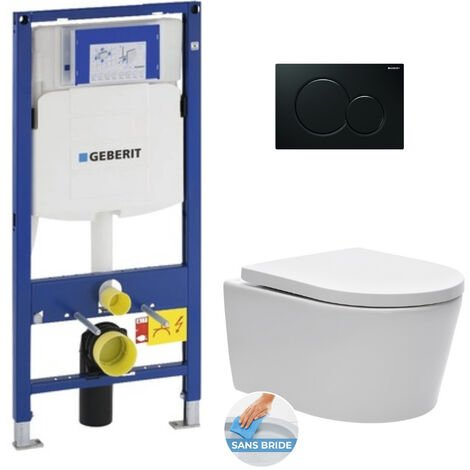 Geberit Pack WC Bâti-support avec Cuvette SAT rimless fixations invisibles + Abattant softclose + Plaque noire (GebSatrimless-A)