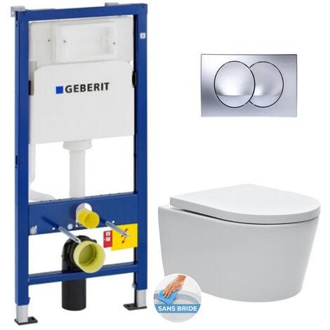 Geberit Pack WC Bâti-support avec Cuvette SAT sans bride fixations invisibles + Abattant softclose + Plaque chrome brillant (SATGeb4)