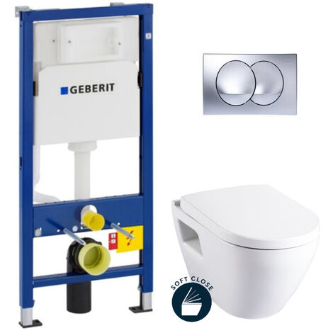 Geberit Pack WC Bâti-support avec Cuvette Serel SM10 + Abattant softclose + Plaque chrome brillant (SM10Geb4)