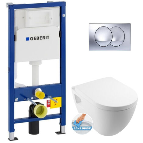 Geberit Pack WC Bâti-support avec Cuvette Serel SM26 sans bride + Abattant softclose + Plaque chrome brillant (SM26Geb4)