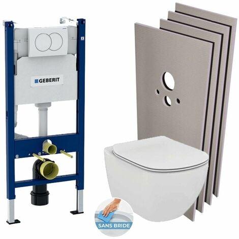 Geberit Pack WC Bâti support + Cuvette Ideal Standard Tesi Aquablade + Plaque blanche + Set habillage (TesiGeb3-sabo)