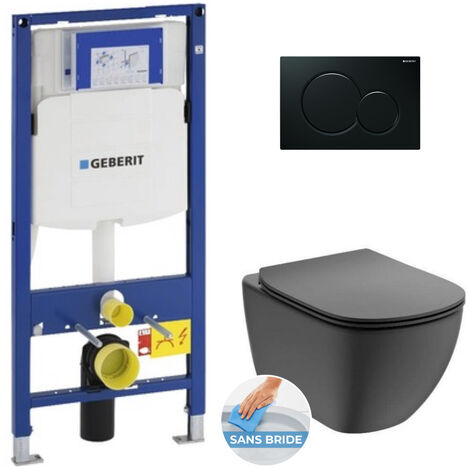 Geberit Pack WC Bâti-support + Cuvette noire Ideal Standard Tesi Aquablade + Plaque noire (GebBlackTesi-A)