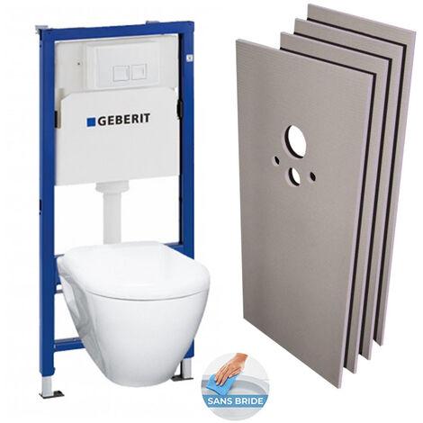 Geberit Pack WC Bâti-support + Cuvette Serel SM26 sans bride + Plaque blanche + Set habillage (H39186rimless-GEB1)