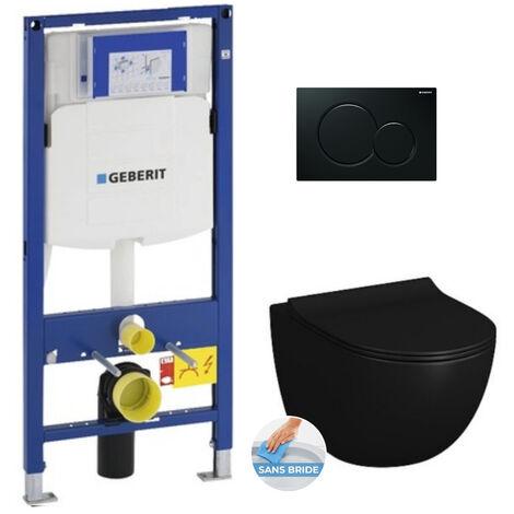 Geberit Pack WC Bâti-support + Cuvette Vitra SENTO noire sans bride fixations invisibles + Abattant + Plaque noire (GebBlackSento-A)
