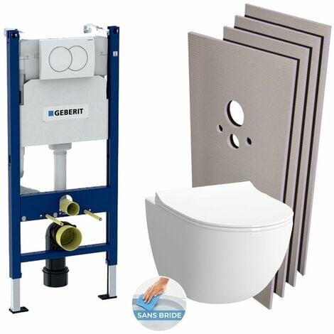Geberit Pack WC Bâti support + Cuvette Vitra Sento Rim-Ex + Abattant soft close + Plaque blanche + Set habillage (HSentorimlessGeb3)