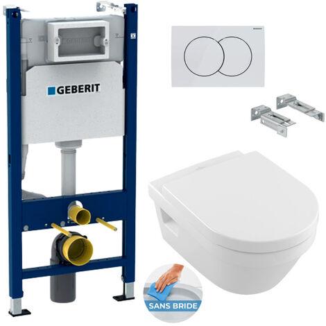 Geberit Pack WC Bâti support Duofix + Cuvette Architectura sans bride + Abattant soft close + Plaque blanche (ArchiRimGeb3)