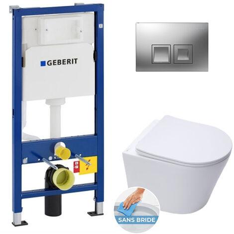 Geberit Pack WC bâti-support Duofix UP100 + Cuvette Infinitio sans bride fixations invisibles + Plaque chrome (InfinitioGeb2)