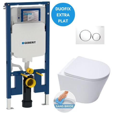 Geberit Pack WC bâti-support extra-plat + Cuvette Infinitio sans bride fixations invisibles + Plaque blanche (SLIM-Infinitio-C)
