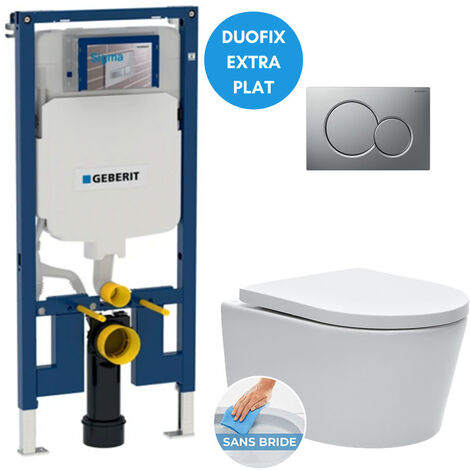 Geberit Pack WC bâti-support extra-plat + Cuvette SAT sans bride fixations invisibles + Abattant + Plaque Chrome mat (SLIM-SATrimless-E)
