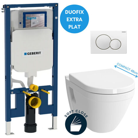 Geberit Pack WC bâti-support extra-plat + Cuvette Vitra S50 compacte + Abattant softclose + Plaque blanche (SLIM-S50Compact-B)