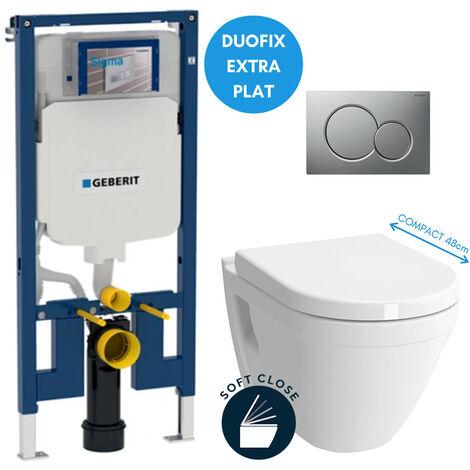 Geberit Pack WC bâti-support extra-plat + Cuvette Vitra S50 compacte + Abattant softclose + Plaque chrome mat (SLIM-S50Compact-E)