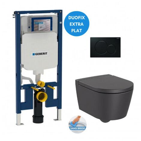 Geberit Pack WC bâti-support extra-plat + WC Inspira onyx compacte sans bride + Abattant softclose + Plaque noire (SLIM-InspiraO-A)