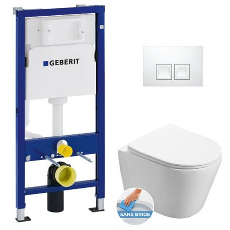 Geberit Pack WC Bâti-support + WC Swiss Aqua Technologies Infinitio sans bride + Plaque Blanc alpin (InfinitioGeb1)