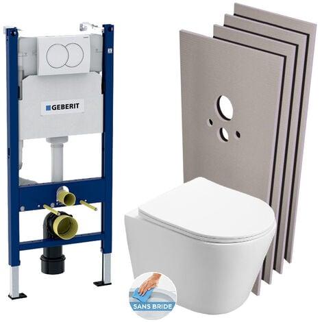 Geberit Pack WC Bâti-support + WC Swiss Aqua Technologies Infinitio sans bride + Plaque blanche + Set habillage (InfinitioGeb3-sabo)