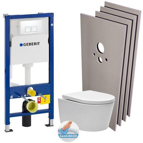 Geberit Pack WC bâti-support + WC Swiss Aqua Technologies sans bride + Plaque blanche + Set habillage (HSATrimlessGeb1)