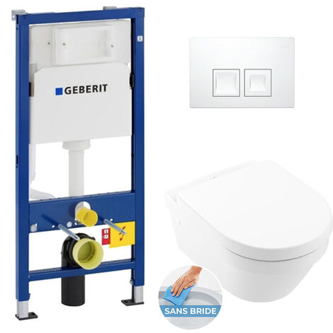 Geberit Pack WC Bâti UP100 + Cuvette Architectura sans bride fixations invisibles (Architectura2Geb1)