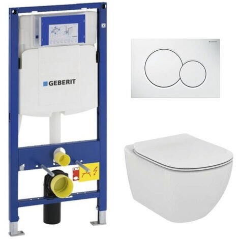 Geberit Pack WC Geberit Duofix + Cuvette Ideal Standard Tesi Aquablade + Plaque de commande Sigma01 Blanche