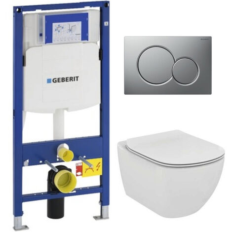 Geberit Pack WC Geberit Duofix + Cuvette Ideal Standard Tesi Aquablade + Plaque de commande Sigma01 Chrome Mat