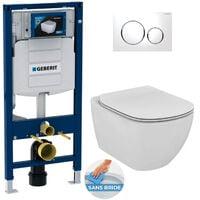 Geberit Pack WC Geberit Duofix + Cuvette Ideal Standard Tesi Aquablade + Plaque de commande Sigma20 Blanc chromé + bâti support