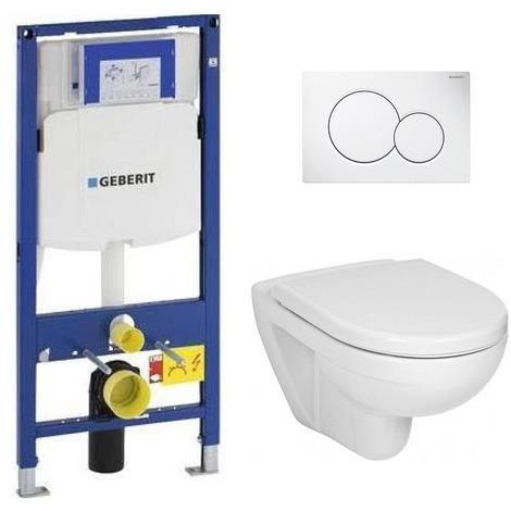 Geberit Pack WC Geberit Duofix + Cuvette JIKA (Groupe Roca-Laufen) + Plaque de commande Sigma01 Blanche