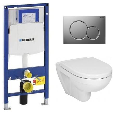 Geberit Pack WC Geberit Duofix + Cuvette JIKA (Groupe Roca-Laufen) + Plaque de commande Sigma01 Chrome Mat