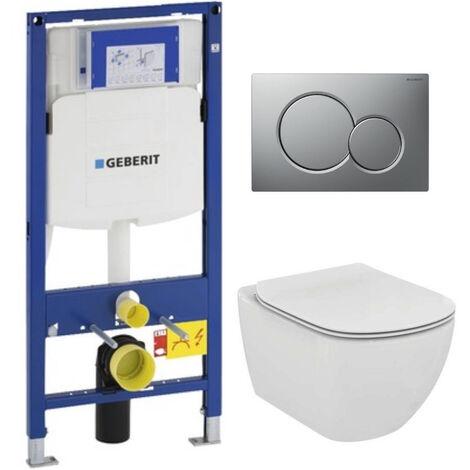 Geberit Pack WC Geberit Duofix + Toilet bowl Ideal Standard Tesi Aquablade + flush plate Sigma01 chrome