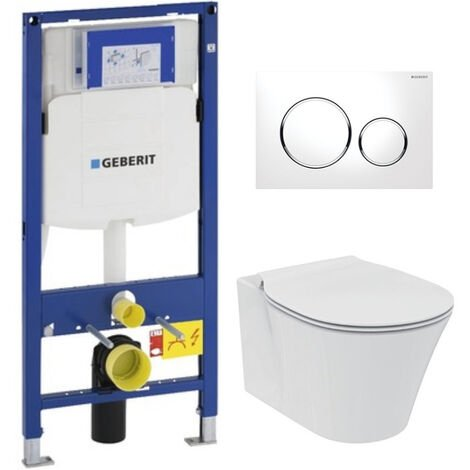 Geberit Pack WC Geberit Duofix + Toilet bowl Ideal Standard Tesi Aquablade + Flush plate Sigma01 white
