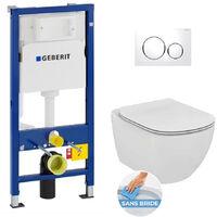 Geberit Pack WC Geberit Duofix + Toilet bowl Ideal Standard Tesi Aquablade + Flush plate Sigma1 white