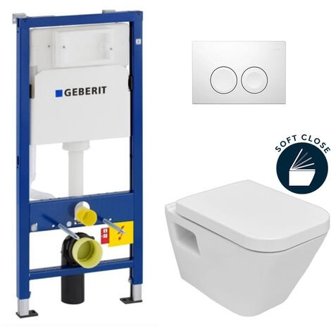 Geberit Pack WC Geberit duofix UP100 + Cuvette Diagonal + Plaque de commande Delta 21 blanche