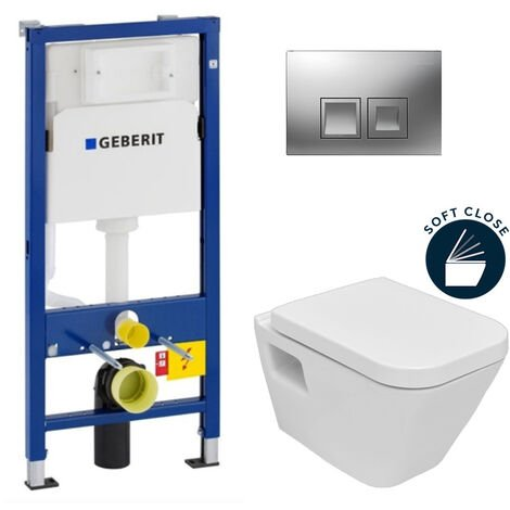 Geberit Pack WC Geberit duofix UP100 + Cuvette Diagonal + Plaque de commande Delta50 chrome mat