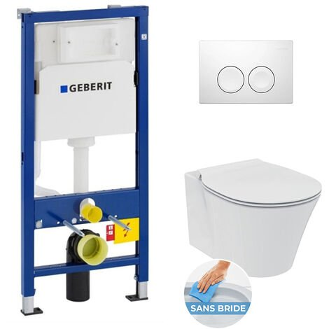 Geberit Pack WC Geberit duofix UP100 + Cuvette Ideal Standard Connect Air + Plaque de commande Delta 21 blanche