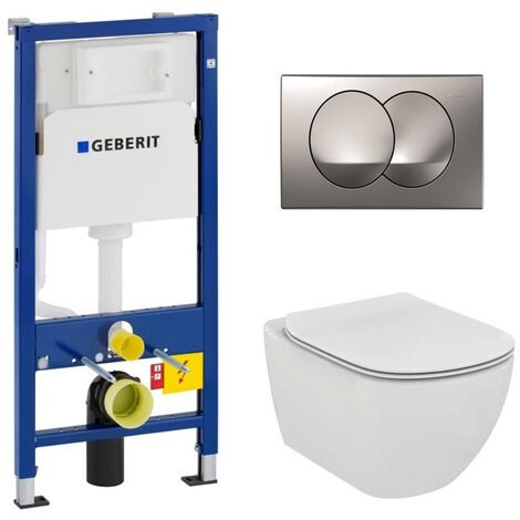 Geberit Pack WC Geberit duofix UP100 + Cuvette Ideal Standard Tesi Aquablade + Plaque de commande Delta20 Chrome satiné
