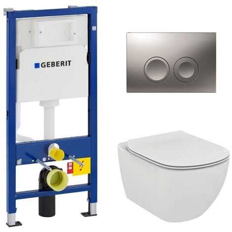Geberit Pack WC Geberit duofix UP100 + Cuvette Ideal Standard Tesi Aquablade + Plaque de commande Delta21 chrome mat