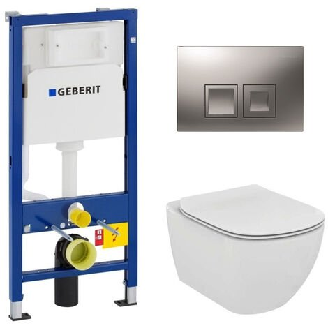 Geberit Pack WC Geberit duofix UP100 + Cuvette Ideal Standard Tesi Aquablade + Plaque de commande Delta50 chrome mat