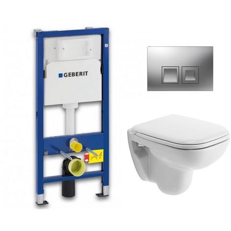 Geberit Pack WC Geberit UP100 Duofix + Cuvette D-Code Duravit Rimless + abattant SoftClose + Plaque de commande Delta50 (DCODESET7)