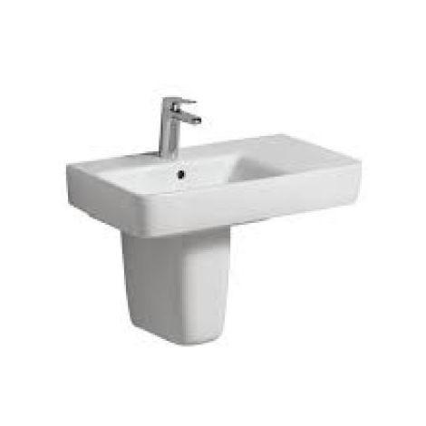 Geberit Renova Nr.1 Comprimo Nuevo lavabo, 650x370 mm, espacio libre a la derecha, 226165, color: Blanco, con KeraTect - 226165600