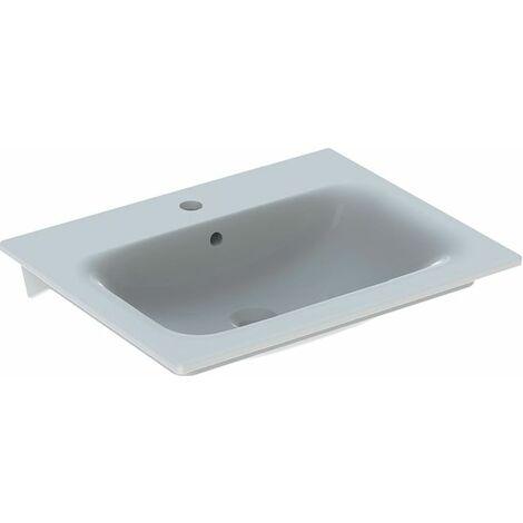 Geberit Renova Nr.1 Plan Meuble lave-mains Slim 60x48cm, avec trou pour robinet, avec trop-plein, Coloris: Blanc, avec KeraTect - 122260600