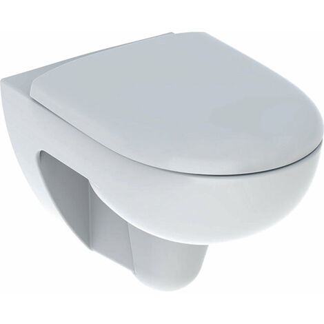 Geberit Renova Set lavabo de pared, sin borde, con asiento de WC, blanco, 500801001 - 500.801.00.1