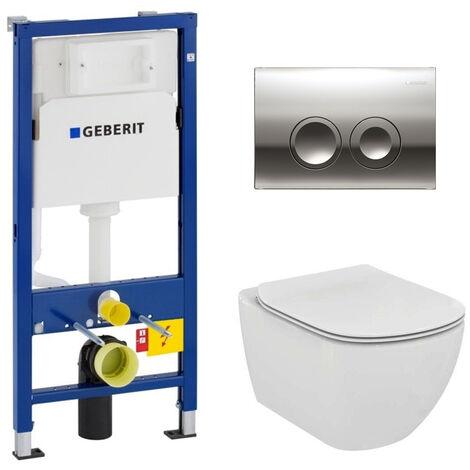 Geberit Set WC Geberit duofix UP100 + Bowl Ideal Standard Tesi Aquablade + Flush Plate (SETUP100-AQUA4)