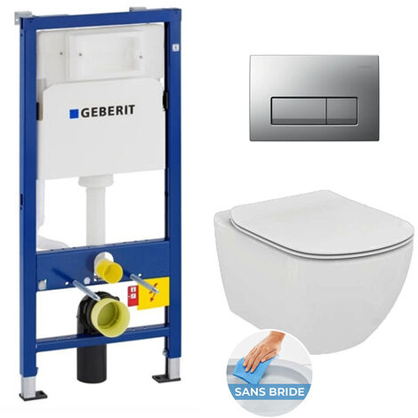 Geberit Set WC Geberit duofix UP100 + Toilet bowl Ideal Standard Tesi Aquablade + Flush Plate (SETUP100-AQUA9)